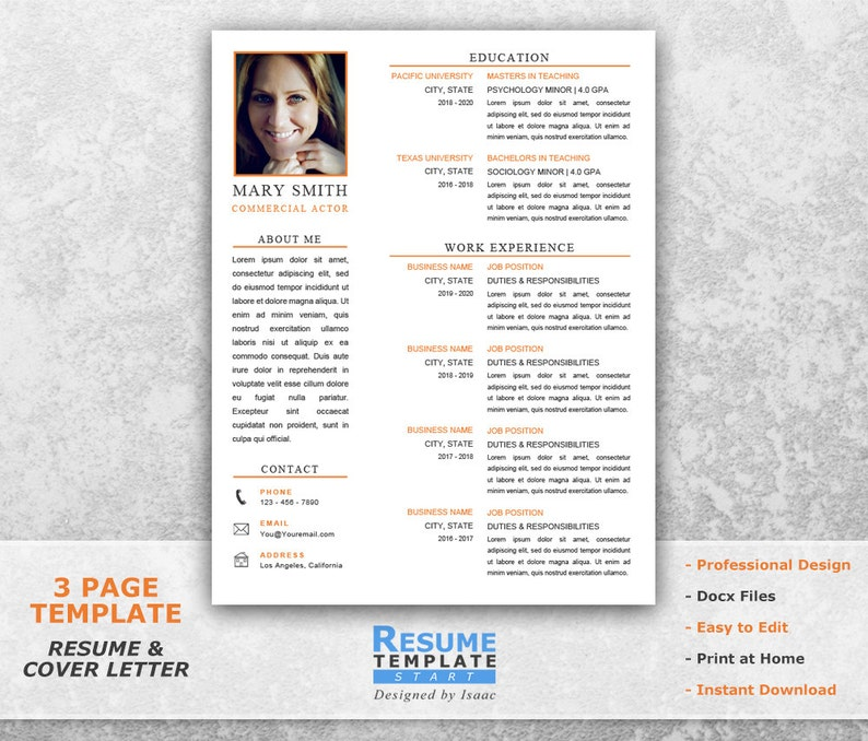 Acting Resume Template Word Design For