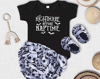 Jack skellington baby set, halloween baby set, baby diaper cover, diaper cover, baby shoes, nightmare before chistmas baby onesie