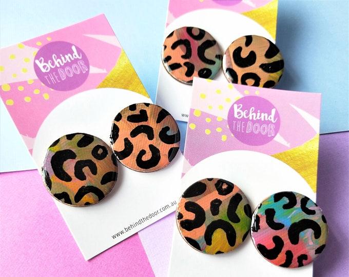 Featured listing image: Leopard Print 30mm Round Art Series Resin Original Artwork Canvas Stud Earrings