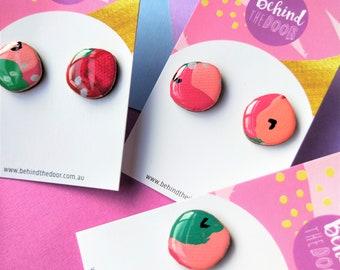 Candy Apple Organic Round 18mm Art Series Resin Original Artwork Canvas Stud Earrings