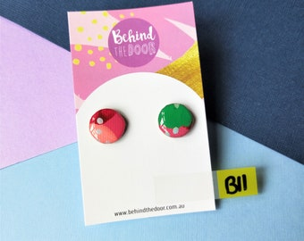 Candy Apple 15mm Round Art Series Resin Original Artwork Canvas Stud Earrings