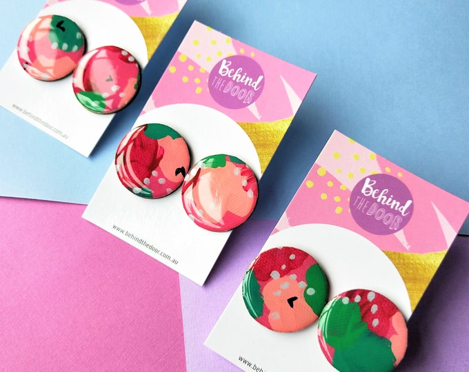 Featured listing image: Candy Apple 30mm Round Art Series Resin Original Artwork Canvas Stud Earrings