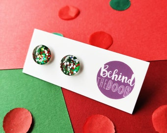 Seasons Greetings Glass Stud Earrings