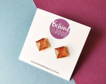 Copper Twilight Glass Clip On Earrings