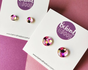Dainty Glass Stud Earrings
