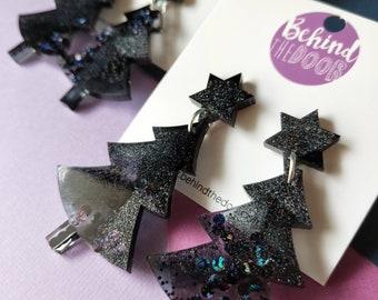 Black Glitter Resin Christmas Tree Dangle Earrings