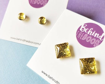 Gold Sparkle Glass Clip On Earrings