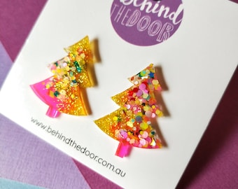 Christmas Tree Glitter Resin Stud Earrings