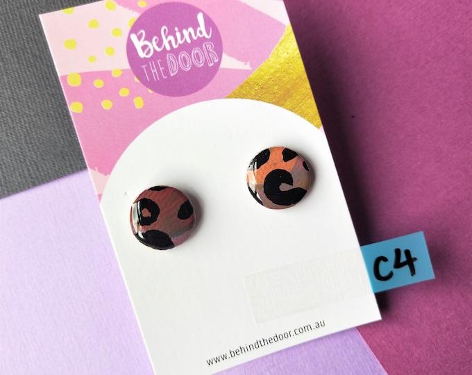 Featured listing image: Leopard Print 15mm Round Art Series Resin Original Artwork Canvas Stud Earrings