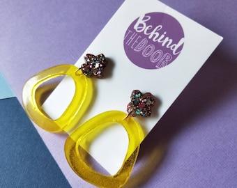 Purple and Fluro Yellow Glitter Resin Stud Dangles