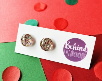Christmas Popper Glass Stud Earrings