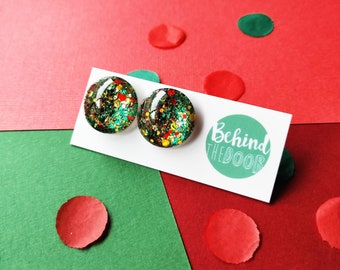 Festive Glass Stud Earrings