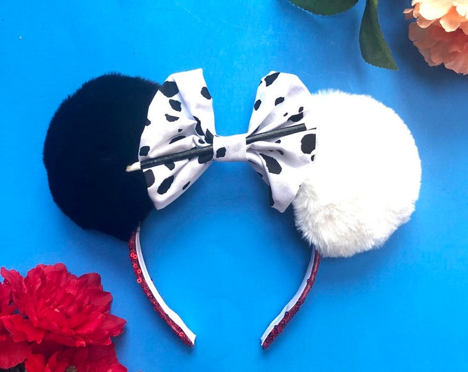 Cruella De Vil inspired Mouse Ears