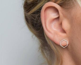 Hexagon Stud Earrings - Silver Geometric Earrings - Minimalist Jewellery