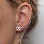 Triangle Stud Earrings - Silver Stud Earrings - Geometric Stud Earrings - Silver Triangle post earrings - Double Triangle Earrings