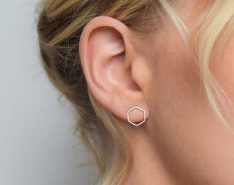 Hexagon Stud Earrings - Stud Earrings Geometric Stud Earrings - Silver Stud Earrings - Silver Geometric Earrings