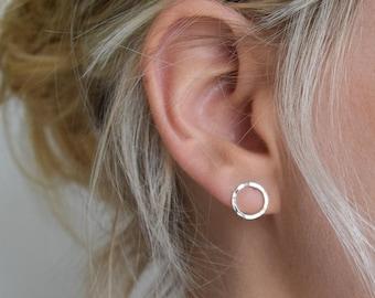 Circle Stud Earrings - Silver or Gold Hoop Earrings - Hammered Circle Stud Earrings - Small Stud Earrings - Dimple Silver Circle Earrings