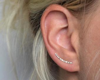 a19575f08 Ear Climber - Ear Crawler - Ear Cuff - Silver Ear Climber - Hammered Ear  Climber - Hammered Earrings