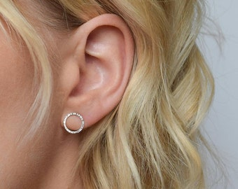 Circle Stud Earrings - Hoop Earrings - Silver or gold Stud Earrings - Dash Hammered Circle Post Earrings - Small Stud Earring