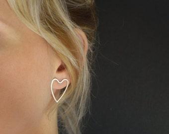 Silver Heart Earrings - Stud Earrings - Silver Heart post earrings - UK Handmade