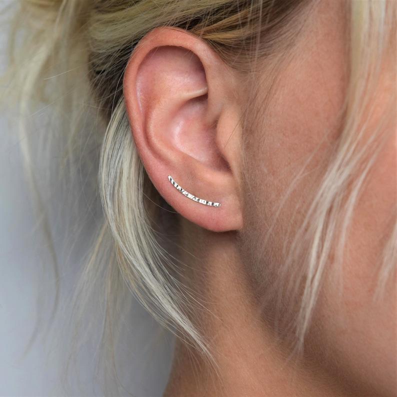Ear Climber  Ear Crawler  Ear Cuff  Silver Ear Climber  image 1