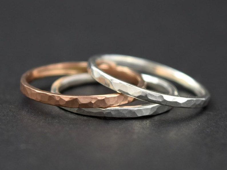 Stacking Rings Stacking Ring Set Thick Stacking Rings Rose Gold Stacking Rings Mixed Metal Rings Gold Stacking Rings