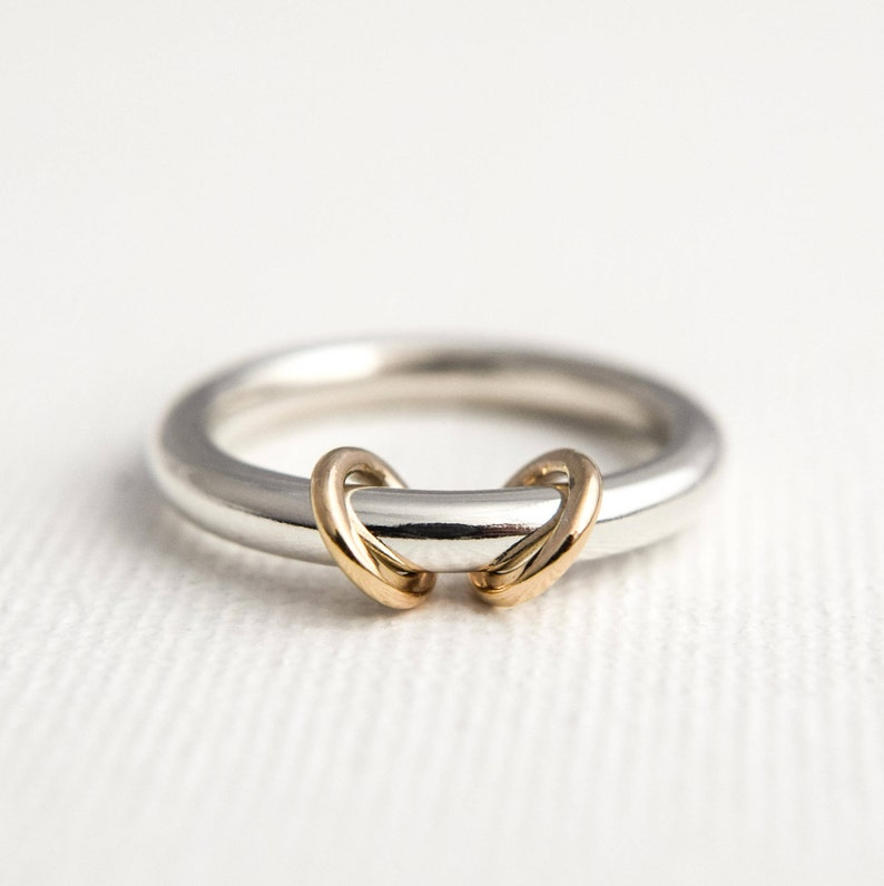 42d183115ac0f Gold Hoop Spinner Ring - Fidget Worry Jewellery - Circle Spinning Ring -  Silver and Gold Worry Ring