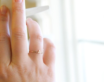 14k Gold Initial Ring - Gold Stacking Ring - Gold Skinny Ring - Solid 14k Gold - Gift for Her - Mothers Ring - Letter Ring - Alphabet Ring