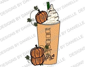 Pumpkin Spice Latte Sublimation Design l PNG l JPG l Download l Fall l Autumn