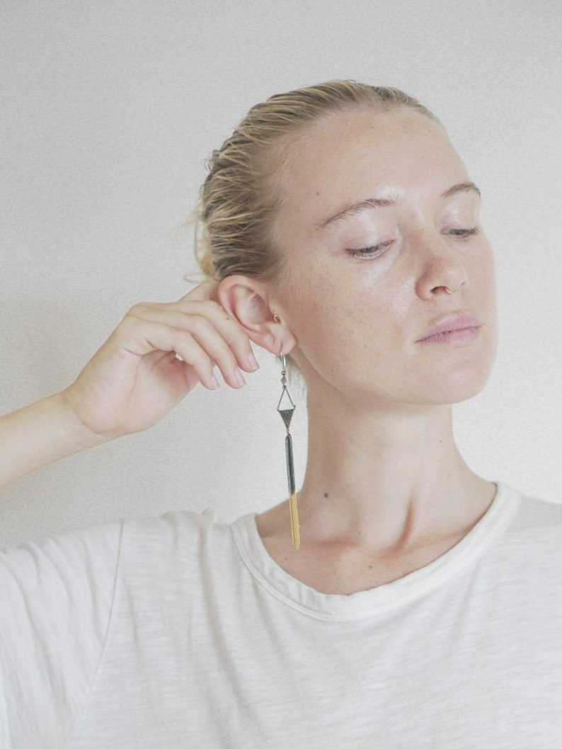 The Mahani Tassel earrings Dangle earrings Bohemian earrings, Brass earrings Ombre earrings