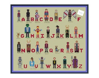 MCU Marvel Cinematic Alphabet Unofficial Cross Stitch DIGITAL PDF (pattern only) Inspired by Avengers, SpiderMan, Guardians of the Galaxy