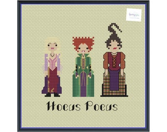 Sanderson Sisters Unofficial Parody Witches Cross Stitch Pattern (DIGITAL PDF ONLY) Halloween