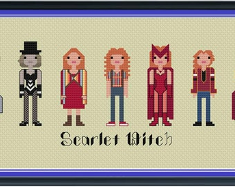 Scarlet Witch Cross Stitch DIGITAL PDF (pattern only) Unofficial Parody Wanda Vision