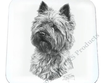 SET OF 4 Mike Sibley Portrait Artist   Cairn Terrier   Coaster   Ideal Present   Gift For Dog Lovers