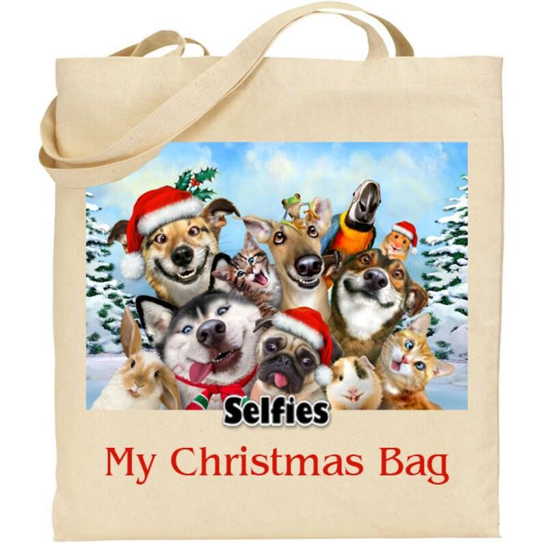 Ideal Present My Christmas Bag Gift Howard Robinson Animal Artist Quality Natural Cotton Shopper Pet Selfie Reusable bag