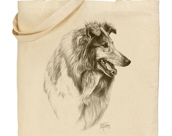 Mike Sibley Portrait Artist   Rough Collie(image2)   Quality Natural Cotton Shopper  Reuseable bag   Ideal Present   Gift For Dog Lovers