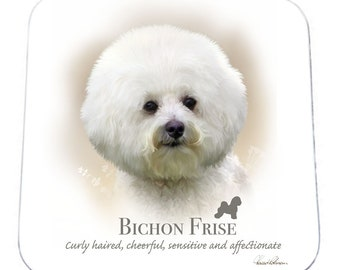 SET OF 4 Howard Robinson Animal Artist   Bichon Frise   Coaster   Quality Printed Coaster   Ideal Present   Gift For Dog Lovers