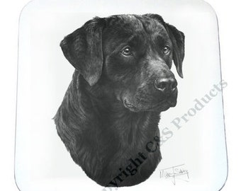 SET OF 4 Mike Sibley Portrait Artist   Black Labrador   Coaster   Ideal Present   Gift For Dog Lovers
