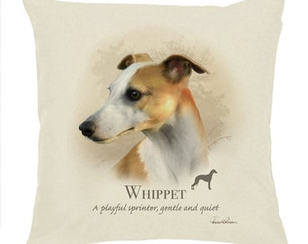 """Howard Robinson Animal Artist   Whippet   Quality Natural Cotton Drill 18"""" Cushion Cover   Ideal Present   Gift For Dog Lovers"""
