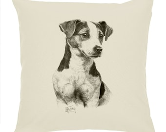 """Mike Sibley Portrait Artist   Jack Russell    Quality Natural Cotton Drill 18"""" Cushion Cover   Ideal Present   Gift For Dog Lovers"""