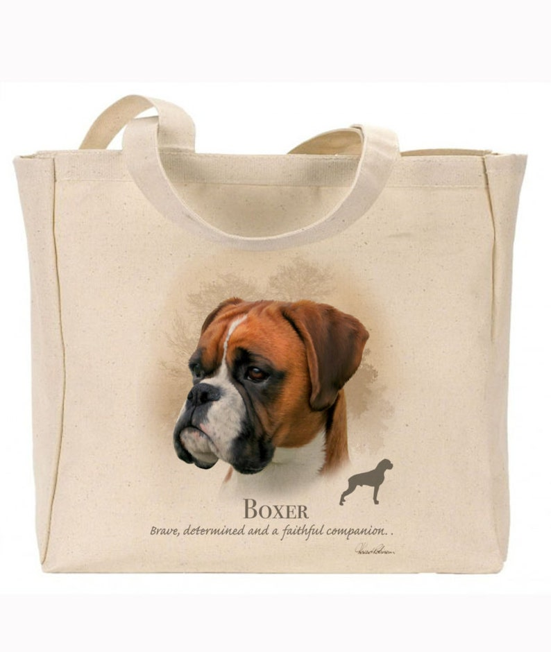 Reusable bag Ideal Present Boxer Gift For Dog Lovers Howard Robinson Animal Artist Quality Canvas Gusseted Tote  Shopper