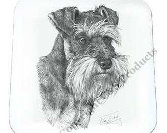 SET OF 4 Mike Sibley Portrait Artist   Schnauzer   Coaster   Ideal Present   Gift For Dog Lovers
