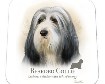 SET OF 4 Howard Robinson Animal Artist   Bearded Collie   Coaster   Quality Printed Coaster   Ideal Present   Gift For Dog Lovers