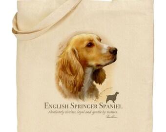 Howard Robinson Animal Artist   English Springer Spaniel (Yellow)   Quality Natural Cotton Shopper   Reusable bag   Gift For Dog Lovers