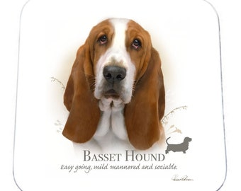 SET OF 4 Howard Robinson Animal Artist   Basset Hound   Coaster   Quality Printed Coaster   Ideal Present   Gift For Dog Lovers