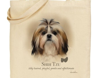 Howard Robinson Animal Artist   Shih Tzu   Quality Natural Cotton Shopper   Reusable bag   Ideal Present   Gift For Dog Lovers