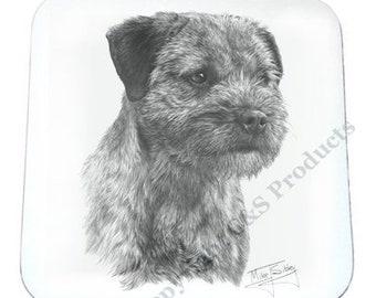SET OF 4 Mike Sibley Portrait Artist   Border Terrier   Coaster   Ideal Present   Gift For Dog Lovers