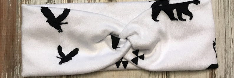 matching mommy and me headbands Signature knotted headbands in white with black animals for mommy and baby top knot stretchy headwrap