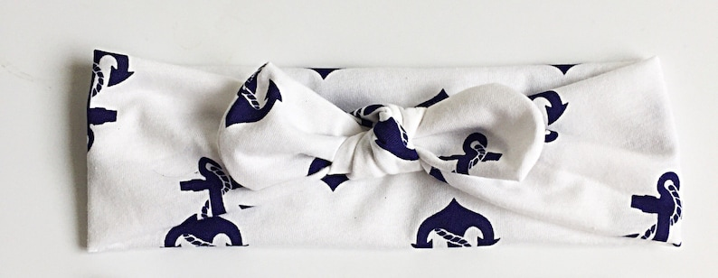 top knot stretchy headwrap matching mommy and me headbands Signature knotted headbands in white with blue anchors for mommy and baby