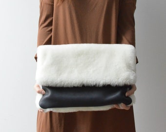 be24fe2118 Made-to-order Sheep Skin Shearling foldover clutch